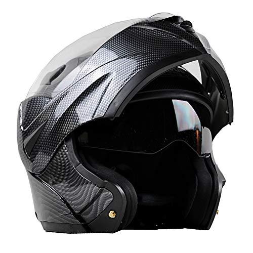 Carbon Motorradhelm Erwachsene Double Lens Vollgesichts Flip Up Motorradhelm Outdoor Motocross Caps für alle Jahreszeiten -
