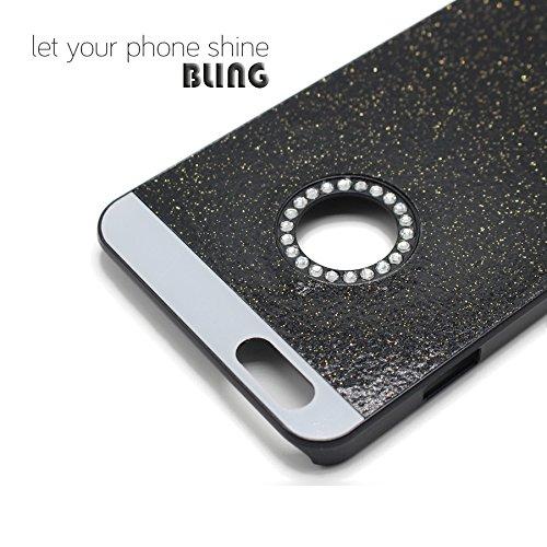 Schutz Hülle Tasche für Apple iPhone 7 Plus GOLD Bling Hart Strass Kunststoff Plastik Glitzer Handy Cover Case Schwarz