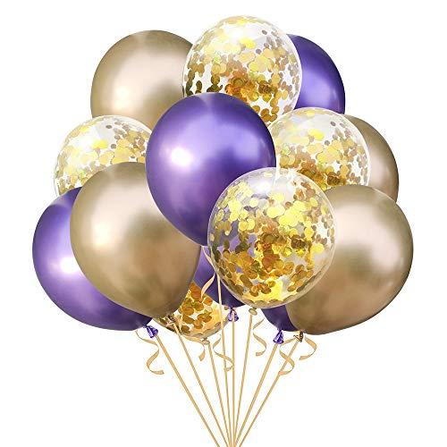 Fjiujin,15pcs gemischte Konfetti Latex Luftballons Party Geburtstag Dekoration(Color:Multi,Size:LILA + Gold) (Gold Dekorationen Lila Und)