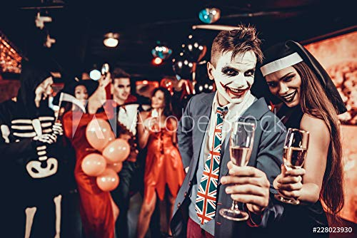 druck-shop24 Wunschmotiv: Young Smiling Couple in Halloween Costumes Dancing #228023930 - Bild als Foto-Poster - 3:2-60 x 40 cm / 40 x 60 cm (Halloween Costume Stock-fotos)