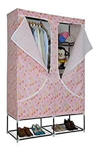 Portable Non-Woven PEVA Fabric Folding Wardrobe with Metal Tube (180cm H x 120cm W x 46cm D)