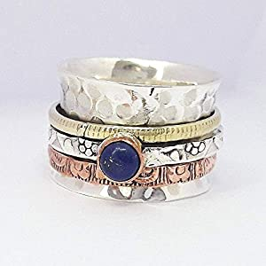 Blue Sapphire Ring, Hammered 925 Sterling Silver Ring Blue Sapphire Gemstone Spinner Jewelry, Meditation Ring, Chunky Ring, Handmade Ring, Rose Gold Ring