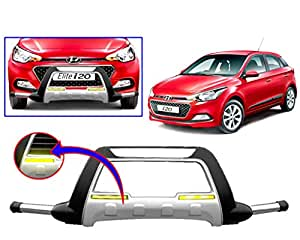 Auto Pearl - Premium Quality Car Fiber & Stainless Steel Front Crash Blaze Guard With Fitting Kit For - Hyundai I20 Elite