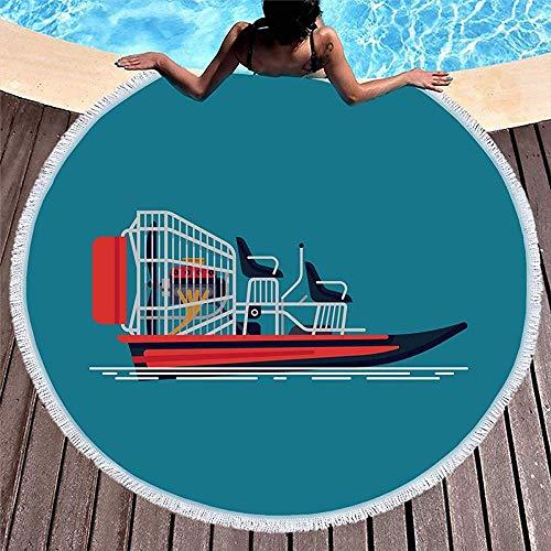 Drollpoe Runde Badetuch Quasten Aktivität Lagune Cool auf Freizeit Airboat Attraktion Boot Fahrzeug Ökotourismus Fahrt Motor Fanboat
