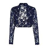 Swallowuk Damen Spitzen Bolero Langarm Jäckchen Kurz Oberteil Jäckchen Cardigan Kleider Top Outwear Mantel (XL, Marine)