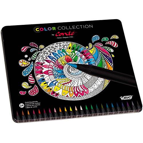 BIC Conté - Caja metálica de 24 lápices de colores