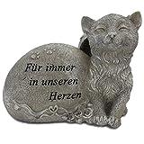 Grabstein Katze Tiergrabstein mit Spruch Polyresin Gedenkstein Grabdeko grau