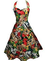 50s Vintage Hepburn Halter Style des années 1950 Beach Girl Imprimer Pin Up Rockabilly battantes Robes + Sac à linge + cadeau / Cabas BOOLAVARD
