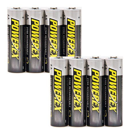 ELV Pack of 8 Powerex NiMH Rechargeable Batteries, Size AA, 2700 mAh