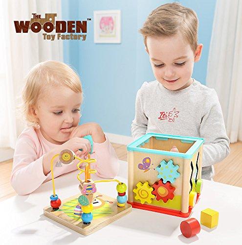 The Wooden Toy Factory   Cubo de Actividades 5 en 1   Juguete de Madera Educativo para Bebés Niños y Niñas Pequeños   No Requiere Montaje