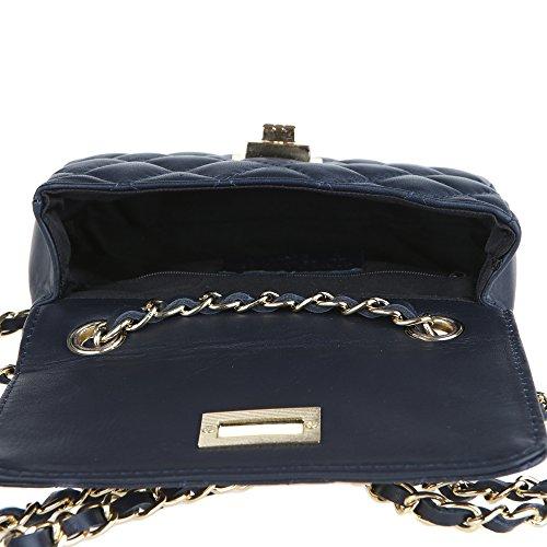 Chicca Borse Clutch Pochette Borsetta da Donna a Spalla in Vera Pelle Trapuntata Made in Italy 19x13x6 Cm Blu scuro