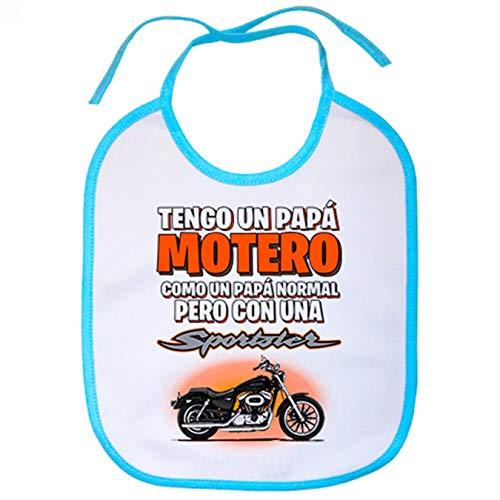 Babero tengo un papá motero moto Sportster - Celeste