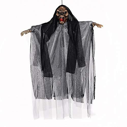 Halloween-Werkzeuge Hängende Geisterrequisiten, Halloween Skelett Partydekoration, Elektrische Sprachsteuerung zum Aufleuchten der Augen Tricky Toy Haunted House-Requisiten ( Color : Schwarz )