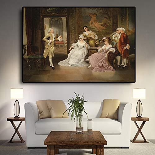 yhyxll Vintage Europäischen Party Palace Porträt Ölgemälde Poster und Drucke Leinwand Pop Art Skandinavischen Wandbild für Wohnzimmer 60x90 cm
