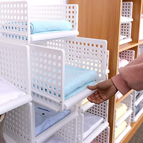 Kleidung Storage Schrank (HyFanStr Kleiderschrank Organizer Schrank Organizer Kleidung Stapelbar Garderobe Organizer, Weiß Clothing Storage Closet Organizer, Regal Kleiderschrank Aufbewahrung)