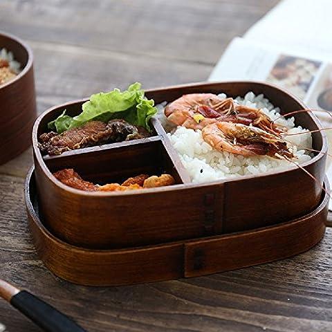 K&C naturelle japonaise Bois Bento Box réutilisable alimentaire Conteneur de stockage