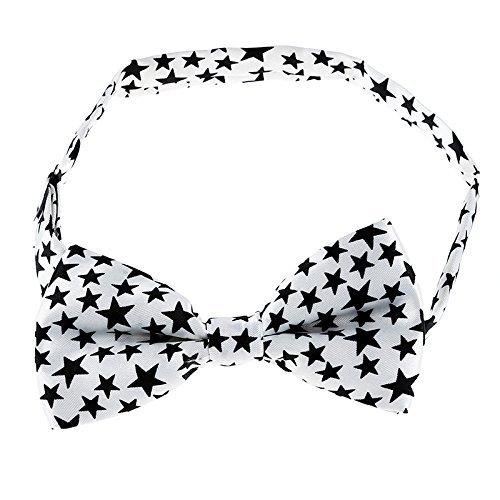 TOOGOO Bianco inferiore con diverso formato Nero cinque punte forma di stella Cravatta raggi per gli uomini