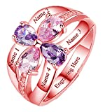 Y.Verve Anillos con Nombre Personalizados Anillo de Piedra Natal de 4 Corazones Anillo Personalizado para Las Madres Anillo de los Amantes(20.75-Oro Rosa)