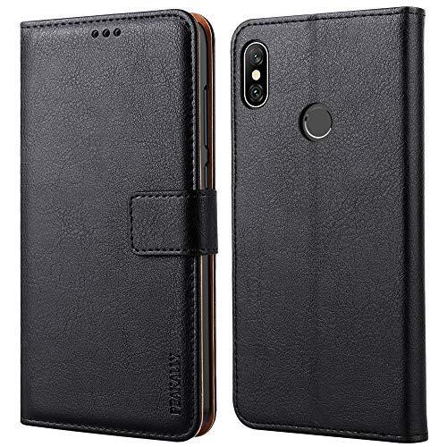 Peakally Xiaomi Redmi Note 6 Pro Hülle, Premium Leder Tasche Flip Wallet Case [Standfunktion] [Kartenfächern] PU-Leder Schutzhülle Brieftasche Handyhülle für Xiaomi Redmi Note 6 Pro -Schwarz