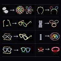 IREGRO Pulseras Luminosas 200pcs de Fiesta 20cm 7 Colores con Conectores para Hacer Glow Sticks Pulseras, Collares, Kits para Crear Gafas Fiestas (200 pcs)