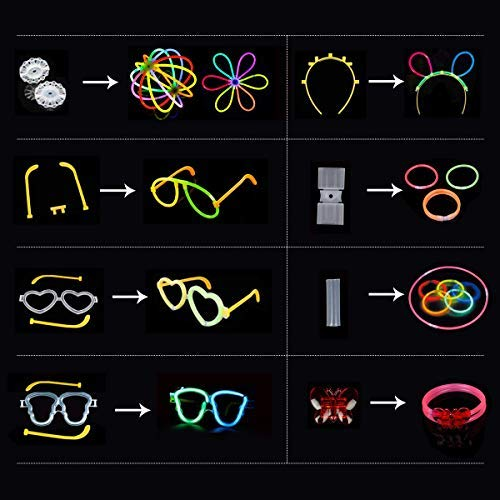 Imagen de iregro pulseras luminosas 200pcs de fiesta 20cm colores con conectores para hacer glow sticks pulseras, collares, kits para crear gafas fiestas 200 pcs  alternativa