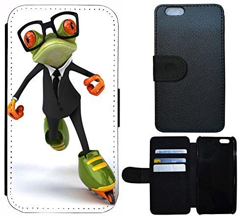 Coque Flip Cover Housse Etui Case Pour, Tissu, 1072 Totenkopf Carton Basecap, Apple iPhone 5 / 5S 1076 Frosch Cartoon Grün Schwarz Orange