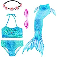 a4f2512d9c905 PalmTalkHome Mädchen Badeanzüge Meerjungfrauenschwanz Zum Schwimmen Bikini  Kostüm Bademode mit Kopf Garland und Taucherbrille Schwimmbrille