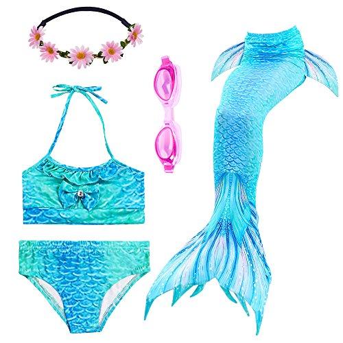 PalmTalkHome Mädchen Badeanzüge Meerjungfrau Tails Bikini Kostüm Bademode mit Kopf Garland und Taucherbrille (150(10-12Y), ()