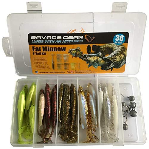 Savage Gear Fat Minnow T-Tail Kit 30 Gummifische +6 Jighaken, Gummiköder, Angelset, Jigköpfe, Angelbox, Köder Set, Angelköder für Hecht, Zander, Barsch & Forelle, Hechtköder, Zanderköder, Barschköder -