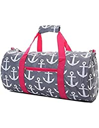 19 Round Print Travel Gym Duffle Bag With Handles (Grey Pink Anchor) By Belvah
