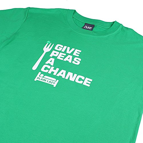 Plain Lazy Herren Give Peas A Chance-Mens T-Shirt Green (Irish Green)