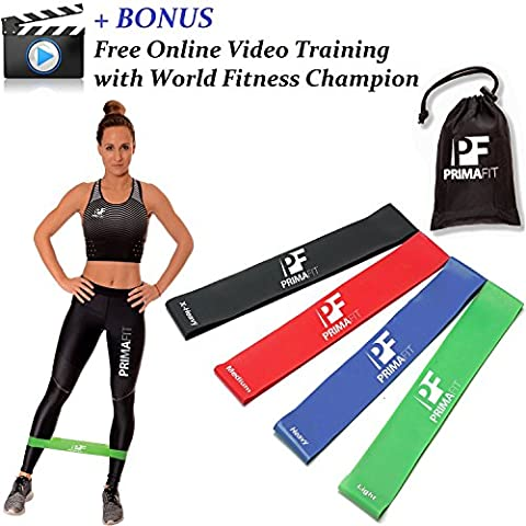 Resistance Loop Bands for Women and Men PrimaFit Set of 4 Premium Exercise Bands - BONUS FREE - Online Video Training Lifetime Guarantee Light to Extra Heavy Best for Home and Outdoor Fitness Workout Resistance Bands Yoga Pilates Physical Therapy Rehabilitation Made Of Natural Latex Material Carry Bag