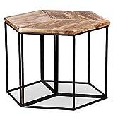 Tidyard Tavolino da caffè in Legno Massello di Mango,Tavolino da caffè per Salotto Modulare in Stile Vintage 48x48x40 cm