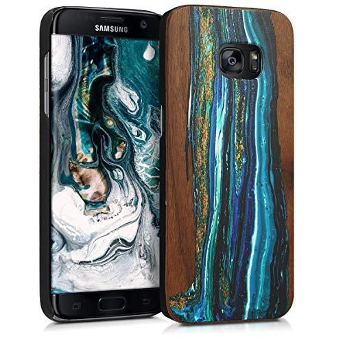 kwmobile Samsung Galaxy S7 Edge Cover - Custodia Protettiva in Legno - Back Case Posteriore per Smartphone Samsung Galaxy S7 Edge