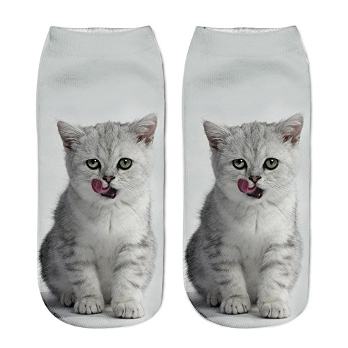 SSMENG Clearance Sale,2018 New Womens Girls Casual 3D Cat Printed Funny Elastic Breathable Cute Short Ankle Socks