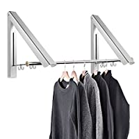 Samione Folding hanger, Foldable Wall Mounted Clothes Rail Folding Clothes Drying Rack, Stainless Steel Coat Hanger Rack Space Saving for Bedroom, Bathroom, Balcony Indoor/Outdoor(2pcs)