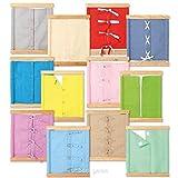 Lernrahmen Verschlüsse nach Maria Montessori mit stabilen Holzrahmen, im Set mit 12 Stück, Größe: 36 x 31 x 2 cm