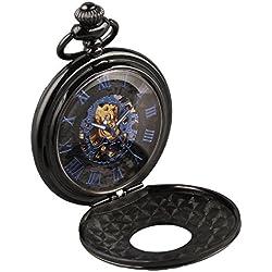 Alienwork Retro Handaufzug mechanische Taschenuhr Skelett Uhr graviert blau schwarz Metall W891B-02