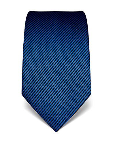 Vincenzo Boretti Herren Krawatte reine Seide gestreift edel Männer-Design zum Hemd mit Anzug für Business Hochzeit 8 cm schmal/breit royalblau