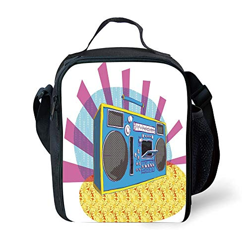 School Supplies 70s Party Decorations,Retro Boom Box in Pop Art Manner Dance Music Colorful Composition Decorative,Multicolor for Girls or Boys Washable