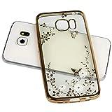 Handy Lux® Schutz Hülle Silikon Case mit Glitzer Steine Strass Cover Gold Hülle – Weiße Blume für Samsung Galaxy S6 EDGE