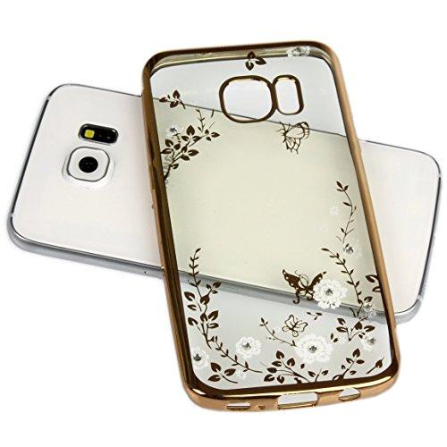 Handy Lux® Schutz Hülle Silikon Case mit Glitzer Steine Strass Cover Gold Hülle - Weiße Blume für Samsung Galaxy S3 / S3 NEO