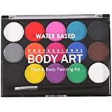 Segolike Professional 15 Colors Water Based Face & Body Paint +1 Brushes Party Makeup