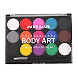 #8: Segolike Professional 15 Colors Water Based Face & Body Paint +1 Brushes Party Makeup