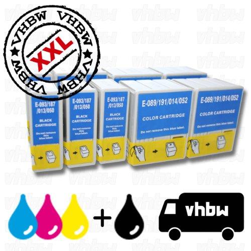 vhbw 10x Druckerpatronen Tintenpatronen Set für Epson Stylus Color 1160, 1520, 400, 440, 460, 480, 500, 580, 600, 640, 660, 670, 740.