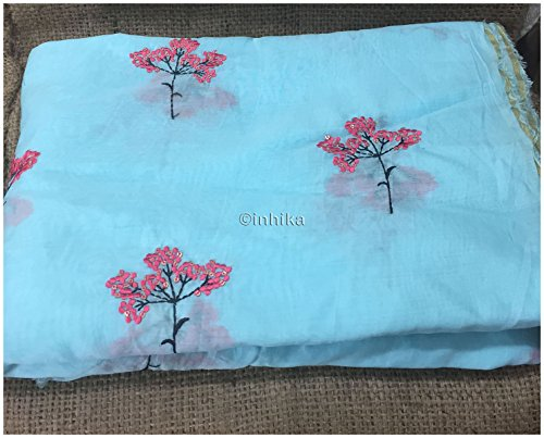Kurti Material Blouse Fabric by meter sky blue chanderi silk pink embroidery...