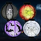 Magicfun Halloween-Dekorationen Papierlaternen mit LED-Licht Halloween Party Supplies Halloween Party gefallen 4 Stück