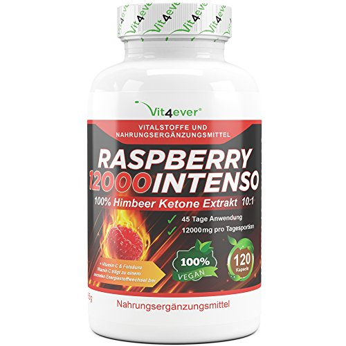 nso - 12000 mg Tagesdosierung - Extra Stark - 120 Kapseln - 100% Himbeere Ketone Extrakt + Vitamin C & Folsäure- Himbeer Keton Fatburner + Diät Ergänzung + Stoffwechsel (Raspberry Ketone Usa)
