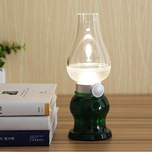 DOXUNGO Retro Vintage Blow LED lamp,Tischlampe, Klassische Lampe,LED Stimmungslampe, Nostalgie lampe, romantische Atmosphäre, Nachttischlampe, Outdoor Camping lampe, mit Lithium-Akku USB-Kabel (Grün)