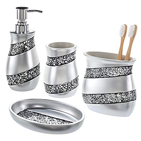 Creative Scents Bathroom Accessories set, 4Pc Mosaic Glass Bathroom Sets – toilet accessories Gift Set Includes Dispenser Bin, Toothbrush Holder, Tumbler & Soap Dish – Finished in Stunning Silver